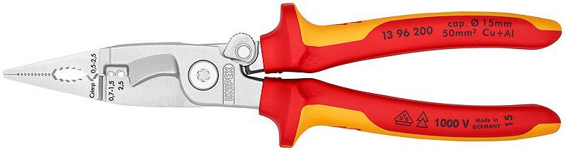 Pliers for Electrical Installation Insulated 1000V 200mm, 13 96 200 KNIPEX