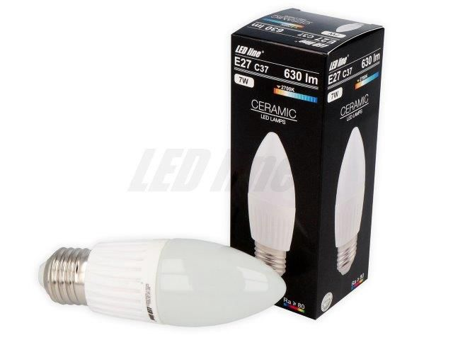 LED-lamp E27 SMD 7W, 170...250V, 630lm, 2700K soe valge, C37, LED line