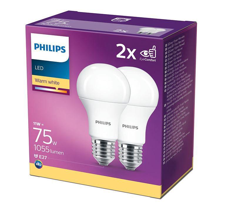LED bulbs (2pcs) E27 230V 11W A60 1055lm, warm white, PHILIPS