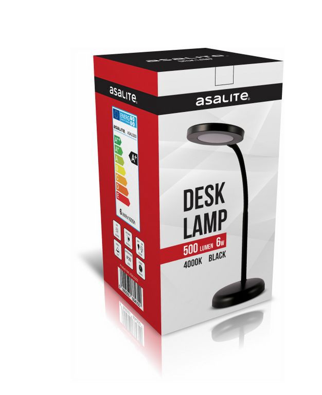 LED DESK Lamp 6W, 4400K, 500Lm,  black, Asalite