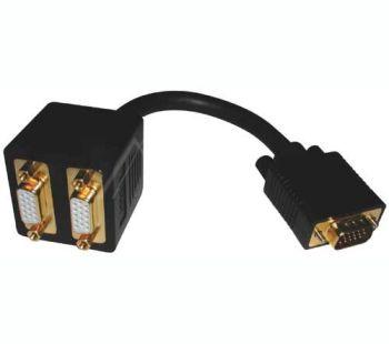 Juhe-jagaja 1xHD15:M -> 2xHD15: F (VGA -> 2xVGA)