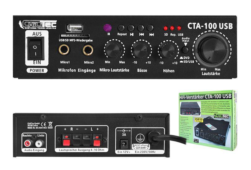 PS karaoke võimendi CTA-100 / USB 100W.