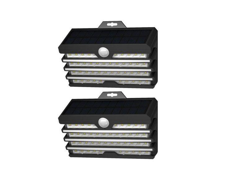 LED luminaires with solar battery and motion sensor 2pcs, 5.1W, 1800mA, IP65, BASEUS