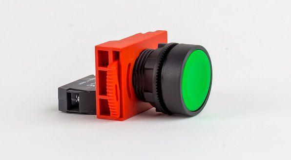 Lüliti valgustusega, roheline, kontaktiga NO, fikseeruv ON-OFF,  HIGHLY