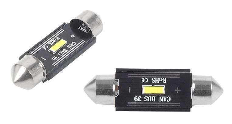 LED CANBUS 1xSMD UltraBright 1860, Festoon 39mm, White, 12V/24V, 2pcs