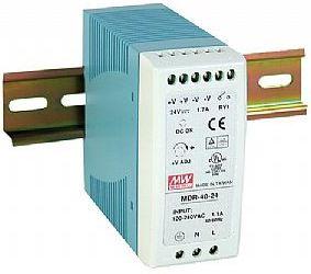 Impulss toiteplokk DIN liistule 40W, 24VDC, 24...30VDC, 1.7A, 85...264VAC, Mean Well