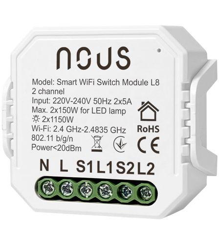 Nous L8 Smart 2 channel WiFi Switch Module, TUYA / Smart Life