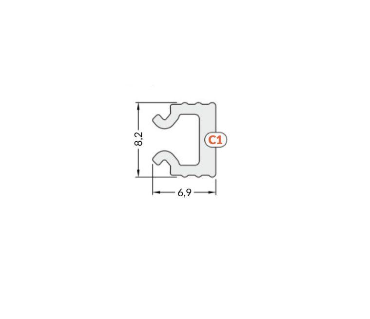 Cover for LED profile HI8, click, 2m, TOPMET