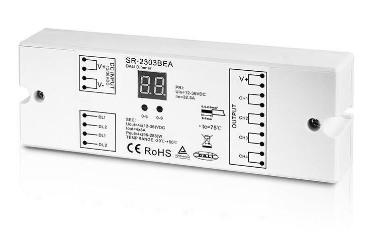 Constant Voltage DALI Dimmer 12-36Vdc 4x8A, SLAVE, Sunricher