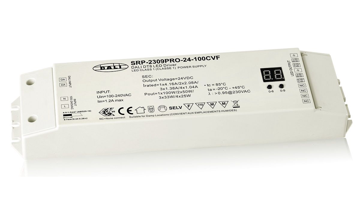 LED driver 24Vdc, 100W, DALI DT8 CCT/RGBW/XY, 4 channels, Sunricher