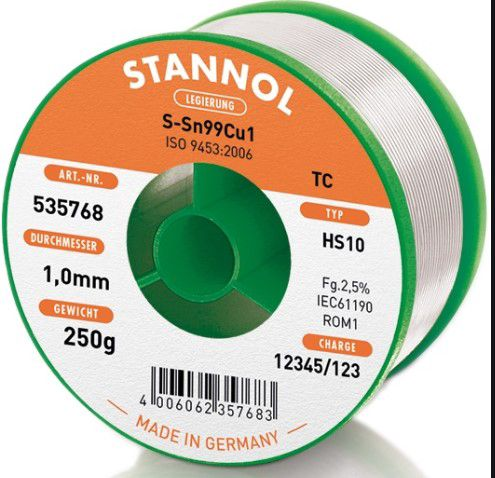 Jootetina  Sn99Cu1 1.0mm 250g  Stannol räbustiga