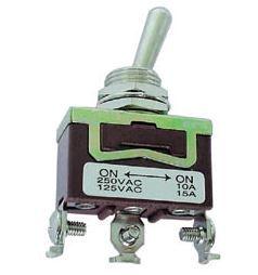 Tumbler 3 kontakti. 3 positsiooni. (ON)-OFF-(ON) fikseerimata 250V10A keskmine 6.8 mm kont.