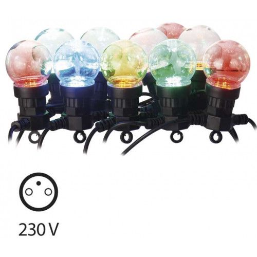 LED garland 10 x colorful bulbs, transperent 2.25W, IP44, EMOS