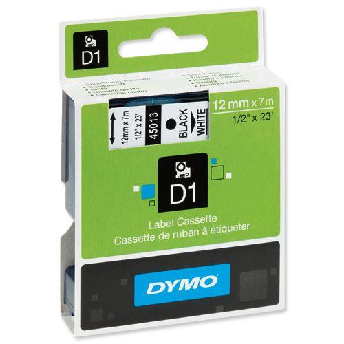Etiketiprinteri lint DYMO D1 12mm x 7m must/valge 45013