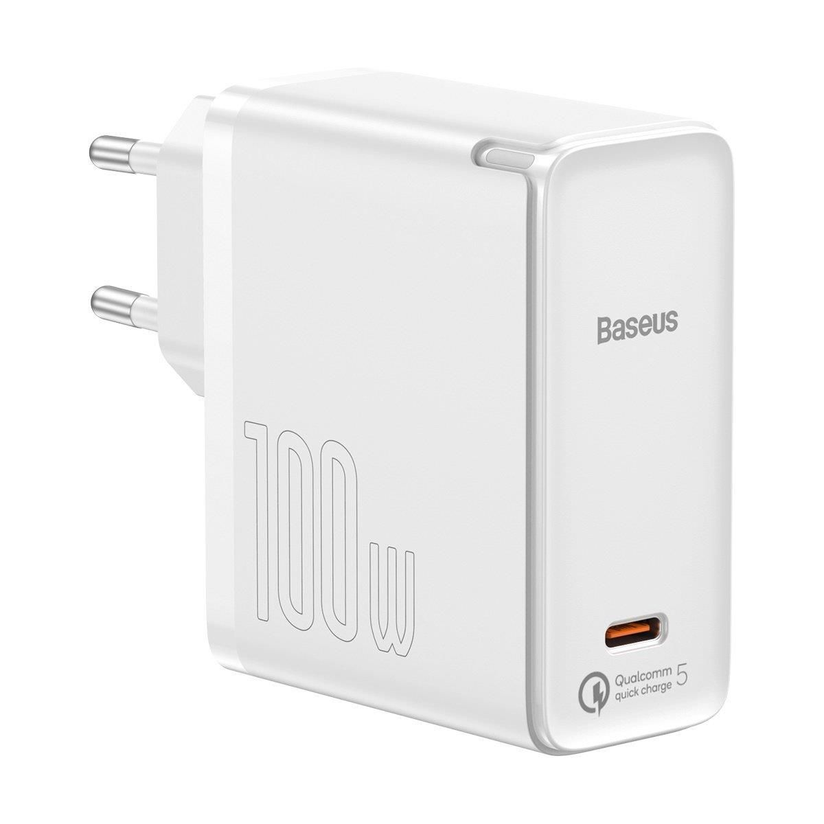 Baseus GaN2 Fast Charger 1C 100W with USB-C cable for USB-C 5A, 1,5m (white), Baseus