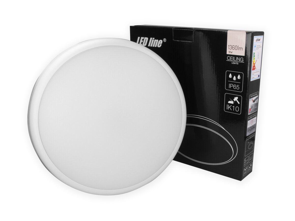 Šviestuvas, LED 230Vac, 16W, LUNAR, PLAFOND, su judesio davikliu, neutraliai balta, IP65, IK10, LED line
