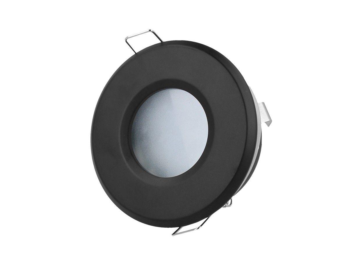 Įmontuojamas šviestuvas, MR16/GU10, apvalus, juodas, hermetinis IP44, LED LINE