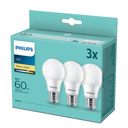 Lemputės LED 3vnt. E27 230Vac 8W (60W) A60 806lm šiltai balta, Philips
