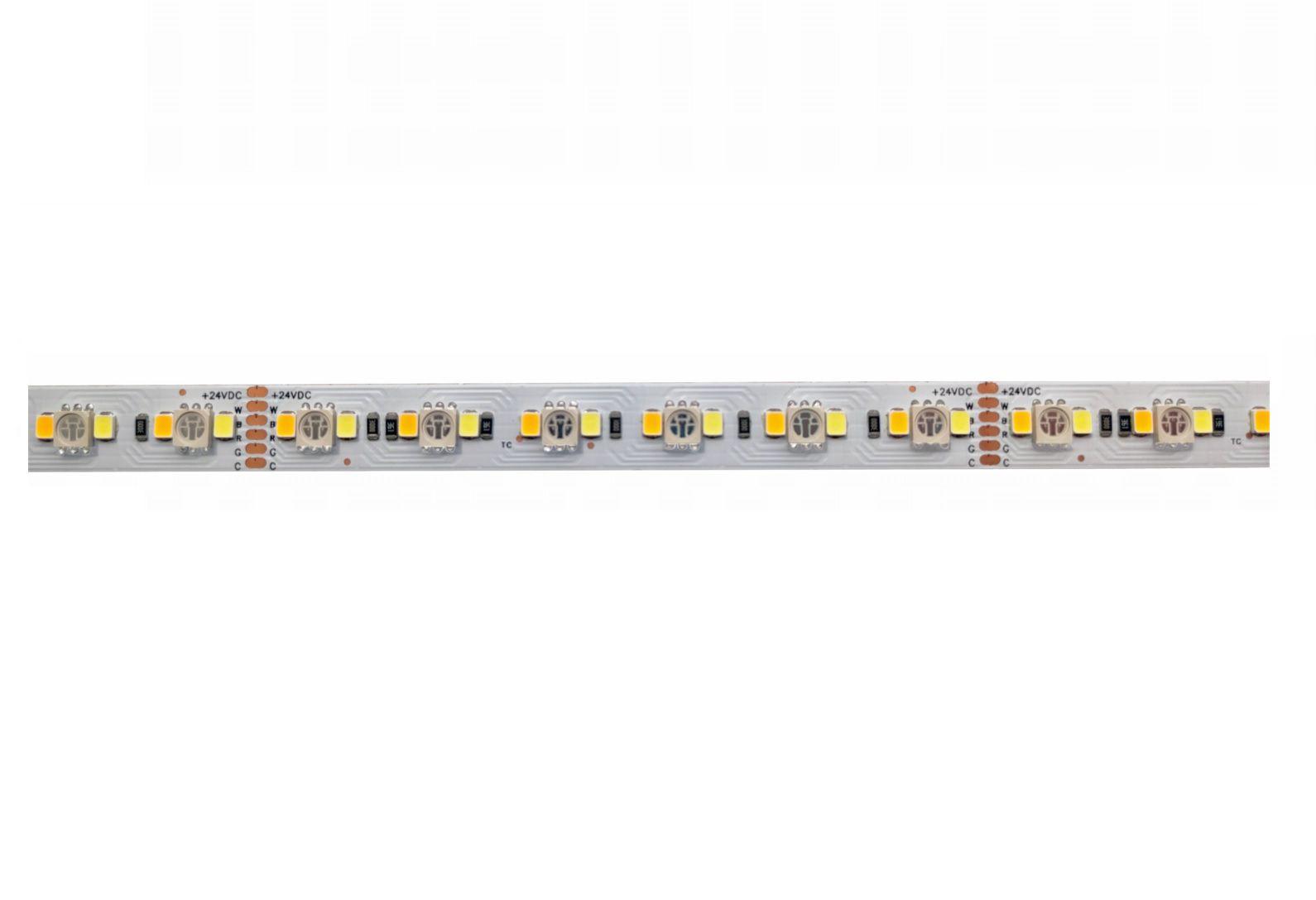 LED juosta 24V 24W/m nehermetiška RGB + WW +W, CCT, Samsung SMD, AKTO