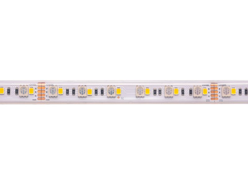 LED juosta 24V 19.2W/m hermetiška T formos IP67, RGB+WW, padidinto efektyvumo, PREMIUM AKTO