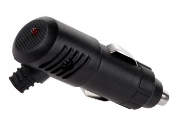 Automobilinis maitinimo kištukas kabelinis lituojamas, su LED, išėjimas kampu