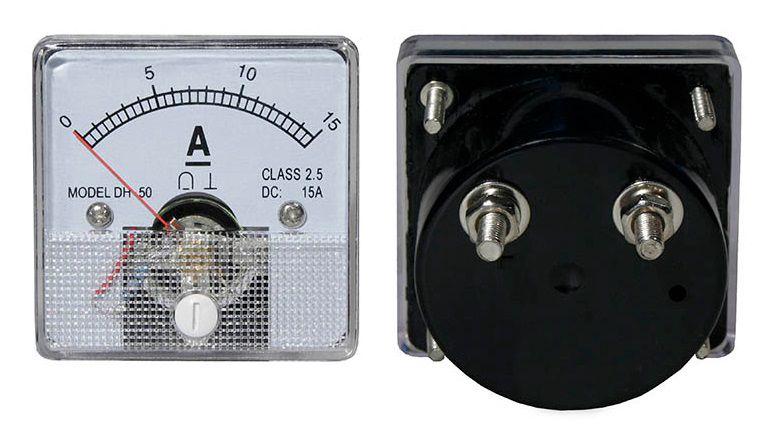 Panelinis rodyklinis ampermetras su šuntu DC 15A 51x51mm
