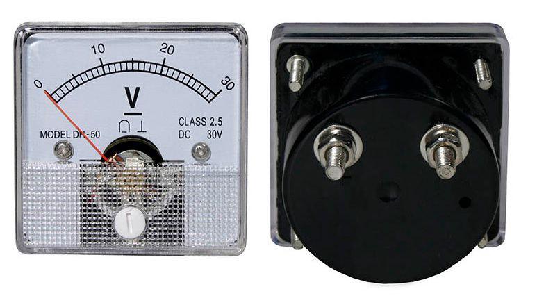 Panelinis rodyklinis voltmetras DC 30V 51x51mm