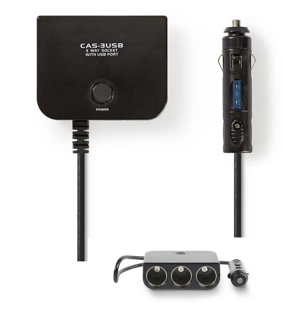 Automobilinis maitinimo ilgiklis (kištukas -> 3 lizdai + USB), su saugikliu ir indikacija