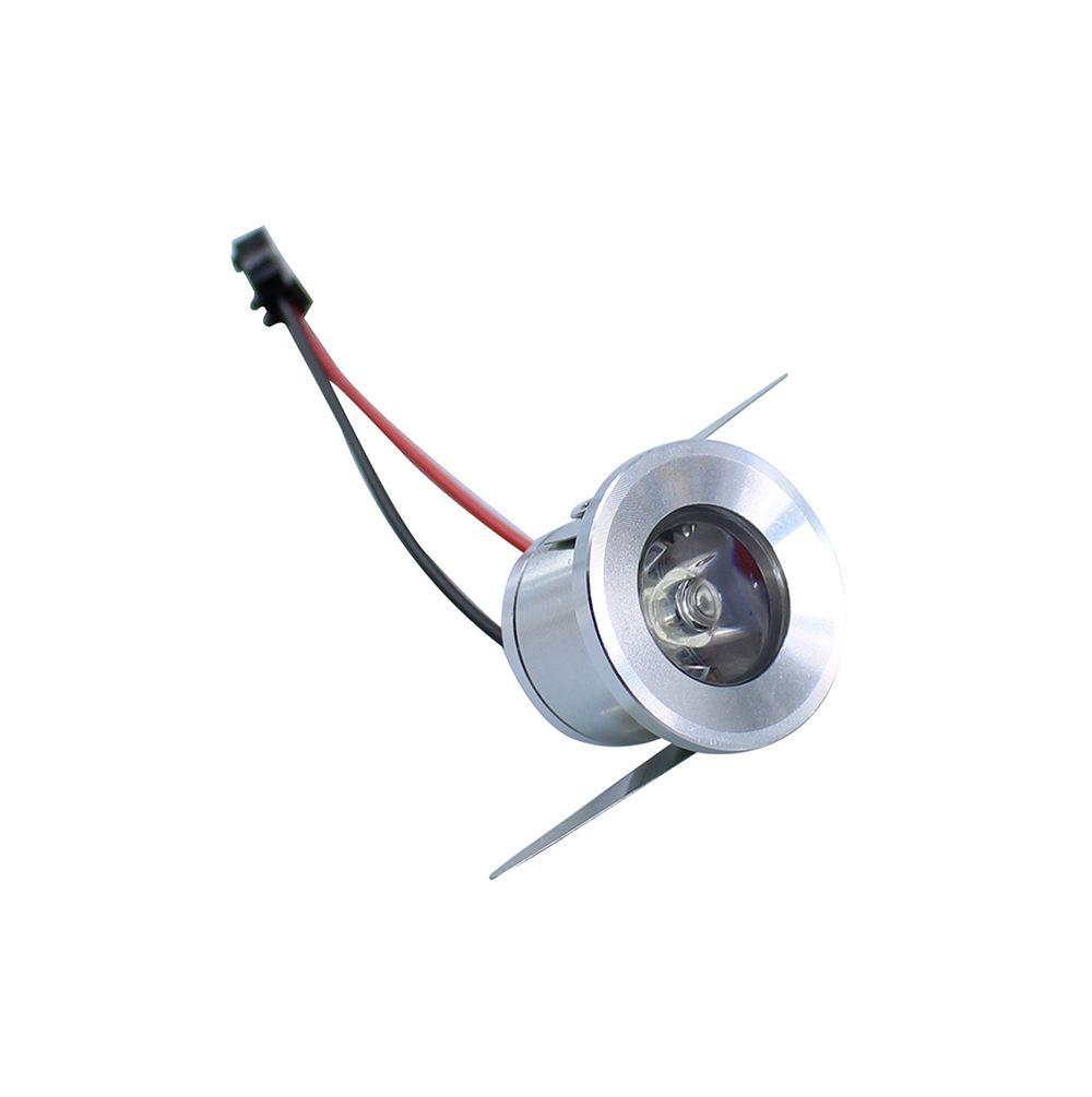 Šviestuvas LED 1W įleidžiamas apvalus šiltai balta 230VAC sidabrinis