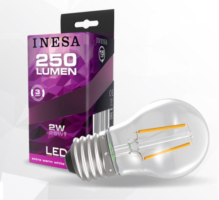Lemputė E27 230V G45 2W, 250lm, šiltai balta 2700K, FILAMENT, INESA