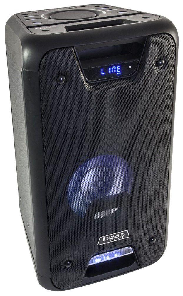 """Nešiojama garso sistema 8"""" 300W (150W RMS) su LED šviesos efektais, Ibiza"""