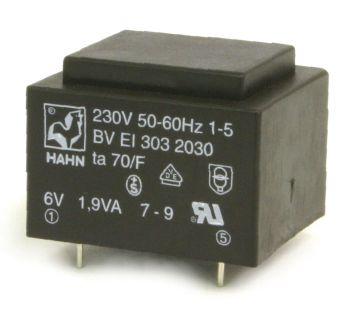 Transformatorius 230V/15V 0.126A 1.9VA Hahn, RoHS