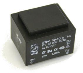 Transformatorius 230V/12V 0.158A 1.9VA Hahn, RoHS