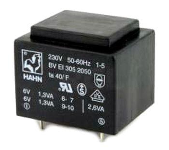 Transformatorius 230V/6V 0.5A 3VA Hahn, RoHS