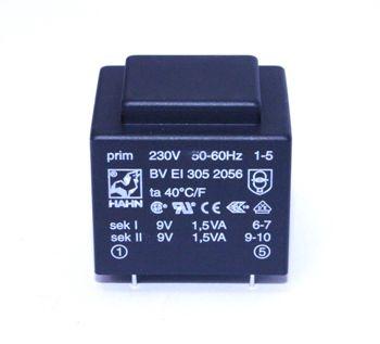 Transformatorius 230V/2x9V 2x0.167A 3VA Hahn, RoHS
