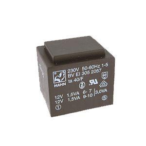 Transformatorius 230V/2x12V 2x0.125A 3VA Hahn, RoHS
