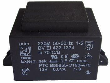 Transformatorius 230V/12V 0.5A 6VA Hahn, RoHS