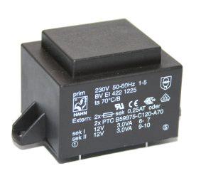 Transformatorius 230V/2x12V 2x0.25A 6VA Hahn, RoHS