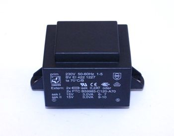 Transformatorius 230V/2x15V 2x0.2A 6VA Hahn, RoHS