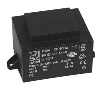 Transformatorius 230V/2x9V 2x0.889A 16VA Hahn, RoHS