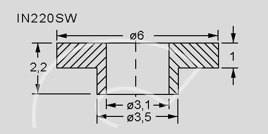 Izoliuojanti įvorė varžtui M3, TO220 korpusui, Ø6.1x2.2mm; max.130°C