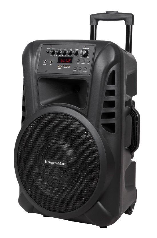"""Nešiojama garso sistema 12"""" 40W RMS su 2 belaidžiais UHF rankiniais mikrofonais ir FM imtuvu"""