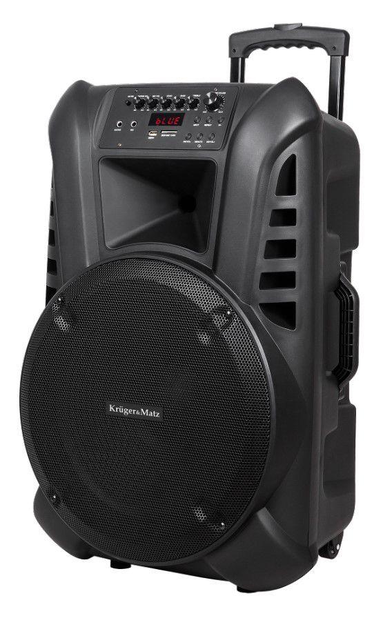 """Nešiojama garso sistema 15"""" 60W RMS su 2 belaidžiais UHF rankiniais mikrofonais ir FM imtuvu"""