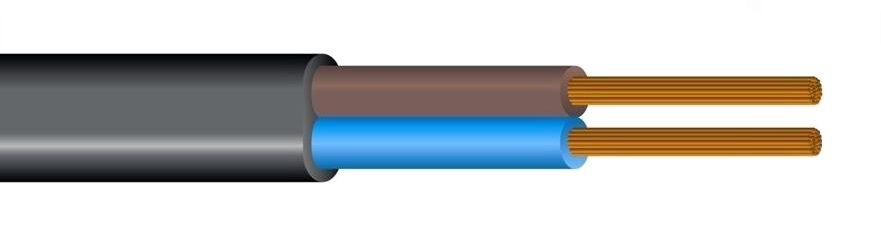 Kabelis 2x0.5mm² juodas (daugiagyslis, plokščias) H03VVH2-F