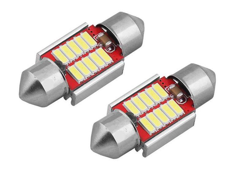 LED lemputės CANBUS 10SMD 4014 Festoon 31mm 12V/24V, 2vnt. AMIO