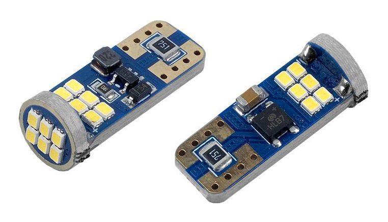 LED lemputės CANBUS 18SMD, T10, W5W, 12V/24V, 2vnt, AMIO