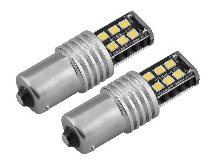 LED lemputės CANBUS 15SMD 2835 7.5W 1156 (P21W) 12V/24V, 2vnt, AMIO