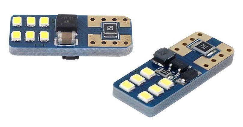 LED lemputės CANBUS, 12xSMD, UltraBright 2016, T10e W5W, 12V/24V, 2vnt, AMIO