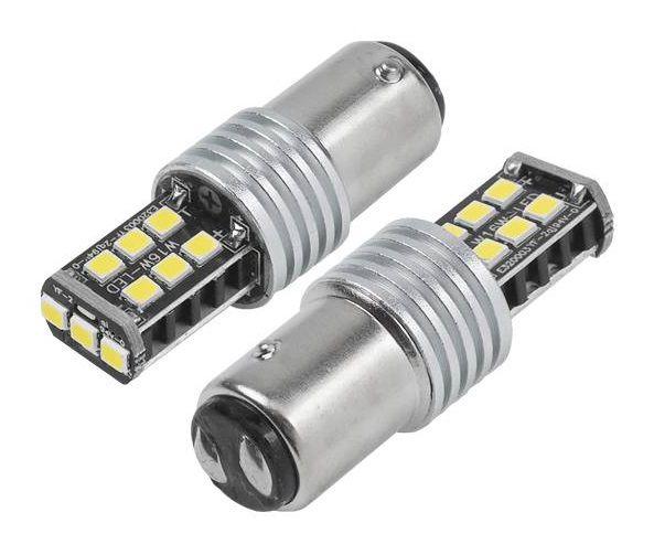 LED lemputės CANBUS, 15SMD 2835, 7.5W 1157 (P21/5W), BAY15D, 12V/24V, 2vnt, AMIO