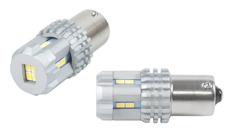 LED lemputės CANBUS, UltraBright 12xSMD 3020, 1156 (R5W, R10W) P21, BA15s, 12V/24V, 2vnt, AMIO